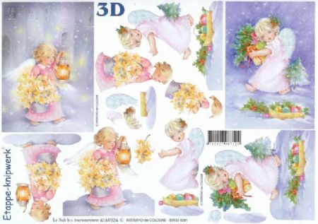 Angel With Lantern Designs 3d Decoupage Sheet from Le Suh